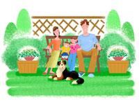 ガーデンチェアに座る家族