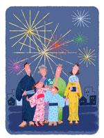 花火と浴衣の三世代家族 22257002895| 写真素材・ストックフォト・画像・イラスト素材|アマナイメージズ