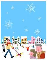 雪の街並みと老夫婦や散歩する人々