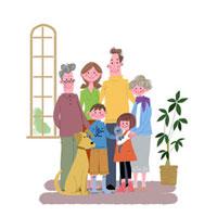 リビングの三世代家族と犬