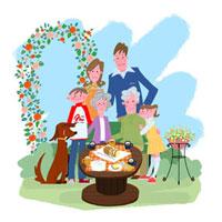 庭でくつろぐ三世代家族と犬
