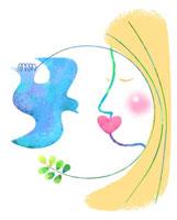 ハートと植物と地球と顔によるエコロジーイメージ