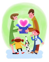家族とペットの愛情イメージ