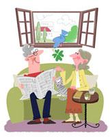 ソファーでくつろぐ老夫婦