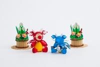 ペーパークラフトで作った子供の竜と門松