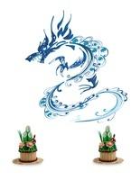 ペーパークラフトで作った門松と竜
