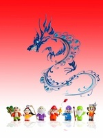 ペーパークラフトで作った七福神と竜