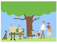 大きな木と三世代家族 22257003149| 写真素材・ストックフォト・画像・イラスト素材|アマナイメージズ