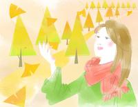 秋の女性と銀杏並木 22257003204| 写真素材・ストックフォト・画像・イラスト素材|アマナイメージズ