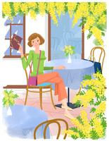 カフェの女性 22257003209| 写真素材・ストックフォト・画像・イラスト素材|アマナイメージズ