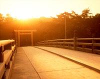 伊勢神宮 宇治橋と日の出