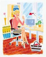 デスクで仕事をしている女性 イラスト