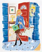 雨の外から帰宅する女性 イラスト