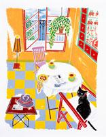 黒猫が佇む窓付きの部屋 イラスト