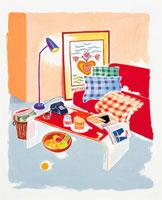赤いソファのあるリビング イラスト