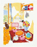 ケーキがのったダイニングテーブル イラスト 22276001850| 写真素材・ストックフォト・画像・イラスト素材|アマナイメージズ