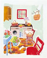 花のあるキッチンイメージ イラスト