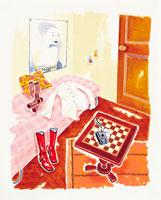 ベッドのある部屋のイメージ イラスト