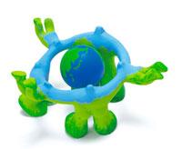 地球を囲む緑のイメージ クラフト