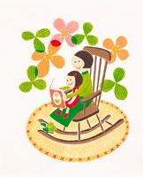 絵本を読む母子 イラスト