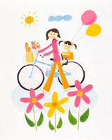 自転車と母子 イラスト
