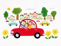 車に乗るファミリー イラスト 22276001888  写真素材・ストックフォト・画像・イラスト素材 アマナイメージズ