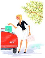 赤い車に荷物を乗せる女性 イラスト