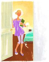 ベッドルームの女性 イラスト