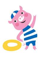水泳の準備体操をする豚