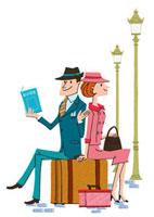海外旅行をしているカップル