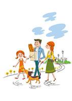公園で散歩する家族