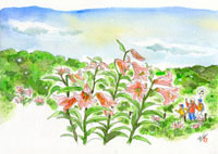 ゆりの花と散策する家族