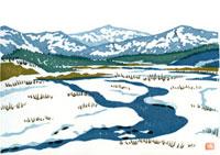 ふるさと風景版画の冬の川