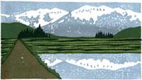 ふるさと風景版画の水田と道