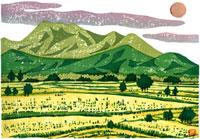 ふるさと風景版画の夕焼けと田園