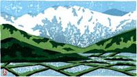 ふるさと風景版画の水田と雪山