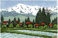 ふるさと風景版画の農村