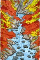 ふるさと風景版画の秋の渓谷