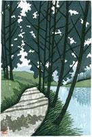 ふるさと風景版画の春の小道