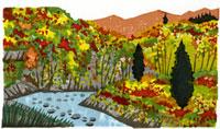 ふるさと風景版画の秋の紅葉