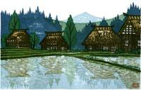 ふるさと風景版画の農村 22276006029| 写真素材・ストックフォト・画像・イラスト素材|アマナイメージズ