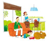 ダイニングキッチンでくつろぐ家族