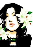 花と女性 22276006281  写真素材・ストックフォト・画像・イラスト素材 アマナイメージズ