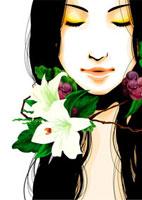 花と女性 22276006282  写真素材・ストックフォト・画像・イラスト素材 アマナイメージズ