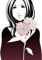 花と女性 22276006289  写真素材・ストックフォト・画像・イラスト素材 アマナイメージズ