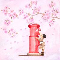 桜の木の下でポストに手紙を出す女の子