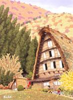 紅葉のふるさとと茅葺き屋根