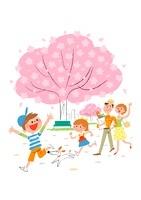 桜咲く公園で散歩する家族