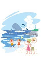 夏の海で遊ぶ家族