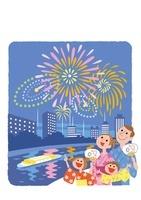 花火を観る浴衣を着た家族